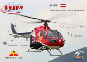 The Flying Bulls BO-105 podczas Air Show 2018 w Radomiu.